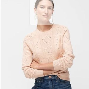 NWOT J. Crew cable pointelle cotton sweater blush